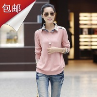2013 autumn and winter sweater outerwear female faux two piece set plus size loose basic shirt collar sweater