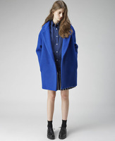Fashion loose outerwear navy blue woolen overcoat m137