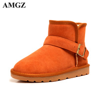 Winter genuine leather snow boots female cotton shoes plus size maternity short ankle boots for women shoes