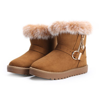 Snow boots female boots student cotton-padded shoes platform rabbit fur 170 thermal