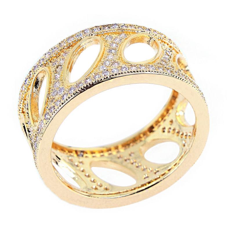 New2014 Fashion Woman 18K Gold Plated Luxury Flower Shape wedding rings Top Grade Zirconia Crystal Plating