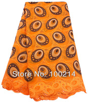 2014 swiss voile lace high quality,african cotton embroidered lace fabric with stone,wedding dresses cloth,Orange,TKL8851
