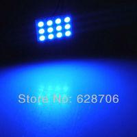 Blue 12 SMD 5050 LED Car Interior Light Lamp T10 Dome BA9S Festoon Adapter 12V