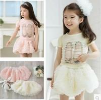 Free shipping Girls skirts summer skirt children's layered tutu rose flower skirts princess baby girls summer skirt