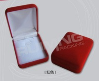 Free shipping Wholesale 12pcs/Lot 8x6x3cm Red Fashion Velvet Jewelry Necklace Gift Packaging Display Box Case
