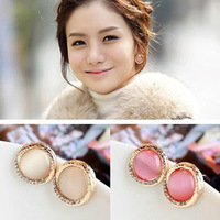 Sakura's Store  +E2217 fashion exquisite circle-eye moonstone rhinestone stud earring female