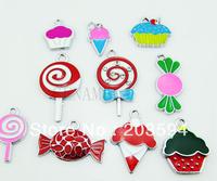 ME002 Wholesale 100Pcs/Lots  DIY Alloy Enamel Enamel Cupcake Charms, Candy, Ice Cream Charms Metal Charms