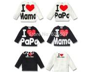 free shipping 10pcs/lot I love papa / I love mama baby shirt with long sleeve ,baby cloth, kid's t shirt