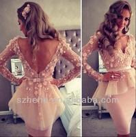Free Shipping!!! CY1440 Kim Kardashian Pink Shealth Knee length long sleeve evening dresses short