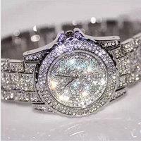 Free Shipping Fashion Women Luxury Rhinestone Pretty Personalized Ceramic White Large Dial Watches Women's Dress Wristwatches