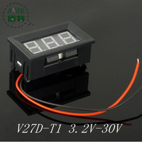 10PCS/LOT V27D - T1 2-wire  buggies 6v 12v motorcycle battery special 3.2-30v digital digital voltmeter RED
