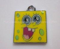 s8934 Free Shipping 100Pcs/Lots Metal Enamel Cartoon SpongeBob SquarePants Face Charms Pendants