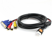 Gold HDMI to VGA HD15 3 RCA Converter Adapter Cable 5ft 1.5M 1080p For HDTV DVD