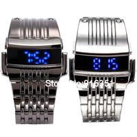 Luxury Stainless Steel Band NEW Infantry Digital Blue LED Sport Military Mens Quartz Wristwatch Watch