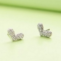 Sakura's Store fashion earrings E2227 full rhinestone bling love heart stud earring