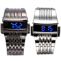 Luxury Stainless Steel Band NEW Infantry Digital Blue LED Sport Military Mens Quartz Wristwatch Watch