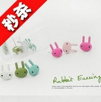 Min. Order 10$ +Mix Order E2231 accessories multicolour paint rabbit stud earring chromophous