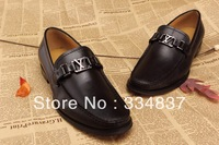 Free Shipping Top Quality New Men Casual Business Shoes Black/Brown Genuine Leather Flats