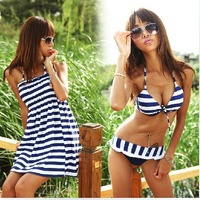 Freeshipping brand new  Women 3pcs/set blue&white stripe Navy style bikinis set girsl swimsuit M,L,XL,XXL size #11066