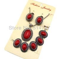 3pcs Antique Silver P Oval Red Turquoise Earrings Bracelet Necklace Women Vintage Jewelry Set JS115
