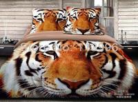 animal design tiger head brown prints duvet quilt cover sheet pillowslip set queen bed 100% cotton bedding set gift free ship