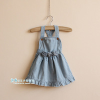 2013 children's clothing autumn female child one-piece dress child all-match denim flower tank dress ft155a7