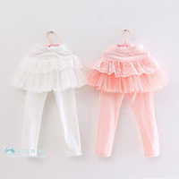 Children's clothing 2013 autumn female child 100% cotton legging child lace gauze all-match culottes fj145a6