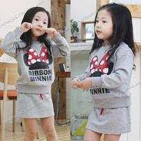 2014 autumn and winter cartoon girls clothing child long-sleeve sweatshirt short skirt set tz-0237