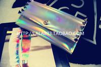Fashion Hologram laser PU leather Totes wtith three-dimensional silver rivet mobile phone big laser symphony wallet Handbag