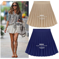 Free Shipping Newest Fashion Women's Vintage High Waist Pleated Female Big Hem Ladies Casual Skirt Chiffon Short Skirt LBR178