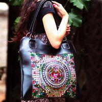 Women genuine leather handbags handmade genuine leather embroidery bag