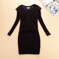 2013 women's lace patchwork tweed slim hip skirt one-piece dress