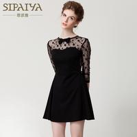 2014 Spring and Summer New Fashion Three Quarter Sleeve Polka Dot Gauze Gentlewomen Elegant Little Black Slim Dress