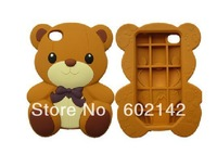 Wholesale Free Shipping !3D Teddy Bear Silicone case cover for iPhone 4G & 4GS