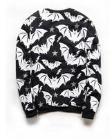 Kill star casual sport  hoodies Fashion men women fleece streetwear bat animal print pullover for punk rock hip pop