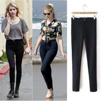 2013 Fashion Women's High Waist Stretch Legging Zipper Pencil Pants Ladies Slim Trousers Black Dark Blue HOT SALE ~~~