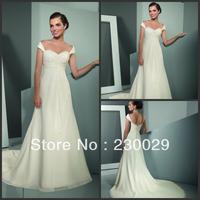 Free shipping Worldwide Elegant Long Ivory Beach Dresses Wedding Gowns 2013 Ruffles Pleats Beads Cap Sleeves BH-048