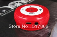 Red  Bluetooth Music Receiver Adapter Car Charger Handsfree AUX Speaker