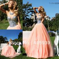 Tarik Ediz New Arrival Sweetheart Rhinestone Crystals Soft Tulle Long Peach Color Prom Dress Women Free Shipping WH363