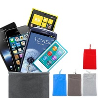 NEW Soft Velvet Fabric Mobile Phone Pouch Bag 5Inch bag For iphone 4 5s Samsung galaxy S3 I9300 S4  HTC mp3 mp4