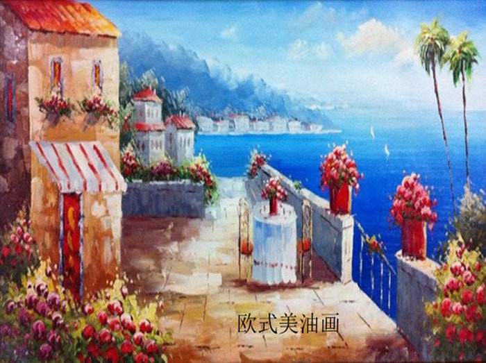 Hand Painted Free Shipping Landsacpe For Living Room Art Oil Painting On Canvas Wall Art Mediterranean Home Decoration Paintings(China (Mainland))