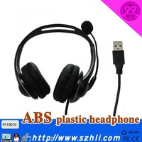 Free Shipping~ Black Color Binaural Headset with Wire Control Volume Control ,  101U  Audio Stereo PC USB Headset