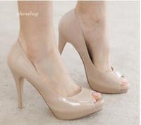 Ladies Fashion High Heel Shoes Patent Leather Fish Mouth Women Pumps Black Beige wholesale JM2349-12NF