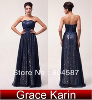 Free Shipping!Luxury Grace Karin A-Line Strapless Sequins Chiffon Ball Evening Gown Prom Wedding Party Formal Long Dress CL6005