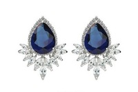New Arrival Sapphire Blue Zircon Crystal Water Drop Wedding Earrings Fashion Elegant Jewelry AAA Cubic Zirconia Stud Earrings