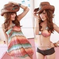 fashion Bohemian bikini three-piece swimsuit beach dress