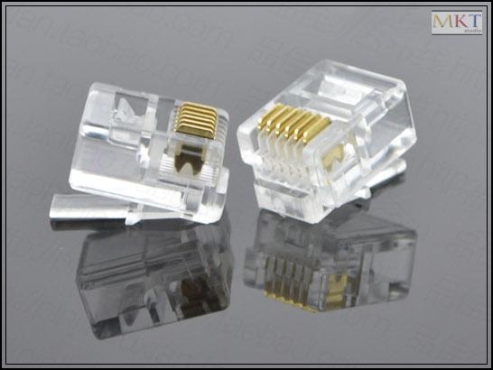 Wholesale (100Pcs/lot) 6P6C 6 Pins 6 Contacts RJ11 Telephone Modular Plug Jack,RJ11 Connector(China (Mainland))