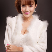 Long-sleeve bride wedding formal dress jacket cape autumn and winter wedding dress fur shawl white wedding dress outerwear 2237