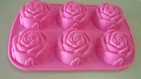 6 cave rose shape silicone cake mold silicone bakeware chocolate mold silicone houseware