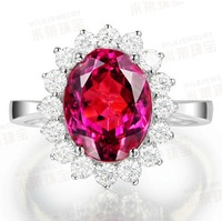 Size 6/7/8/9 Royal Style Red Ruby CZ Crystal Stone Princess Kate Engagement 10KT Gold Filled  Ring